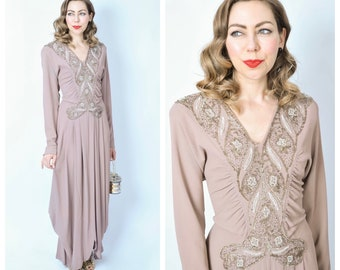 Vintage 1940's Beaded Mauve Rayon Evening Gown/ 40's Floor Length Formal Dress Size Medium