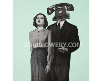 Surreal Art 8x10 Inch Paper Collage Print, Mint and Black Retro Wall Art Dorm Room Decor
