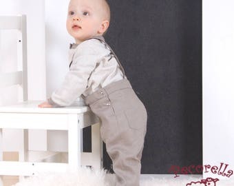 Baby trousers in beige cotton with straps