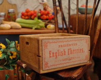 English Cherries Market Crate 1:12 Scale Miniature Dollhouse Accessory