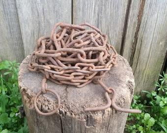 Vintage chain, Rusty chain, Antique iron chain, Hand forged chain, Long metal chain, Chain link, Old chain, Garden decor, Farmhouse decor,