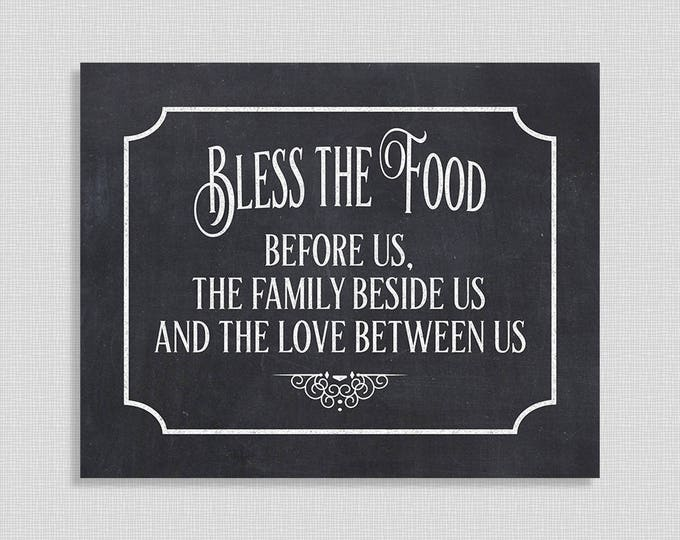Bless the Food Before Us Wedding Sign, Printable Chalkboard Blessing Sign, Food Table Sign, Party Signage, INSTANT DOWNLOAD