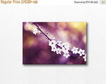 ON SALE Nature photography Flower Canvas print cherry blossom art fine art photography floral canvas wall art botanical art print plum purpl