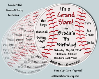Grand Slam Baseball Party Invitation Set, C-554, Includes Personalized Ball Shaped Invitation, Cupcake Toppers, And Wrappers