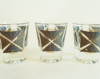 Mid Century Shot Glasses - Set of 3 Black and Gold Design - Atomic Barware - Federal Glass Company