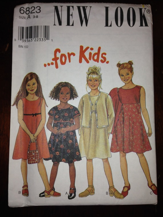 Simplicity New Look 6823 Sewing Pattern 90s Girls Dress and Jacket Size 3-8