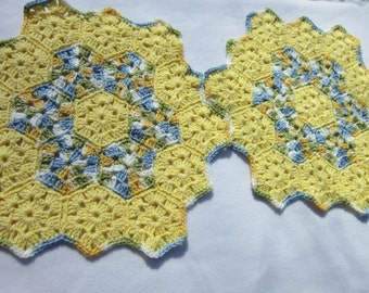Yellow Doilies, Spring Table Decor, Table Placemats, Blue and Yellow Doilies, Set of Two Crocheted in Yellow Pastel, Easter Home Decor