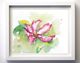 Watercolor Flower Original Giclee Art Print, Watercolor floral art, flowers, original watercolor painting