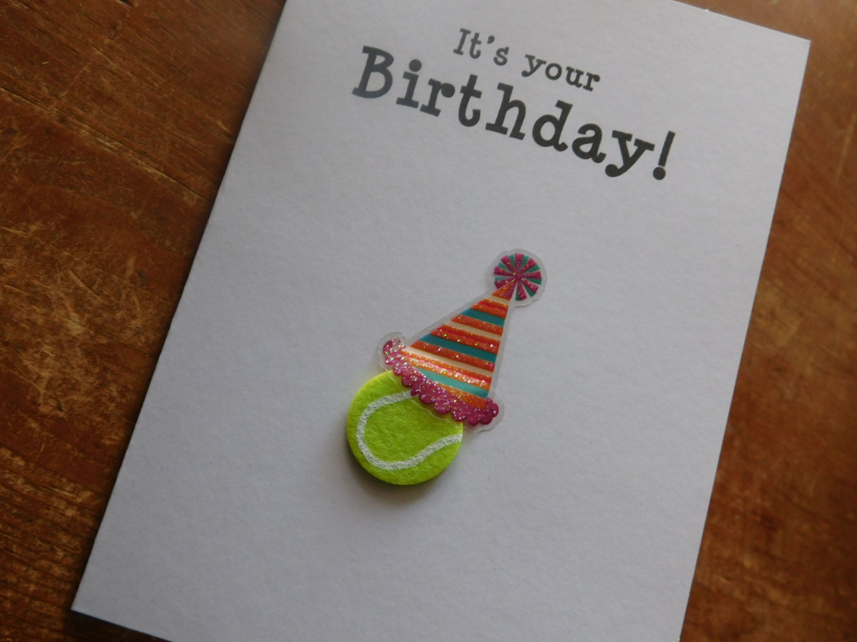 Tennis birthday card birthday handmade greeting card with zoom m4hsunfo