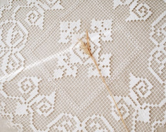 Vintage filet crocheted table cloth / square table runner/ Cotton table topper / Table overlay/ Handmade filet lace doilies/ 70s
