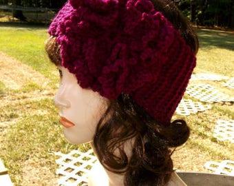 Crochet Flower Headband, Crochet Flower Ear Warmer, Women's Headband, Winter Accessory,  in Deep Raspberry or Choose Your Color