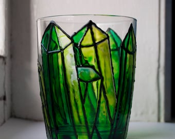 Hand Painted Emerald Green Crystal Glass Candle Holder. Tea Light and Votive
