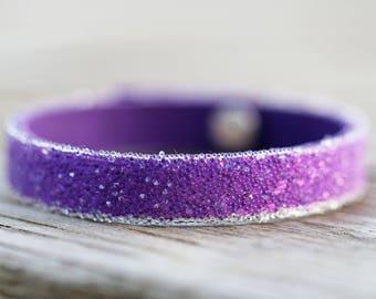 Unique, Swarovski Crystal & Leather Adjustable Bracelet Cuff Ultraviolet Pantone 2018 Friendship Mother's Day Gift Birthday