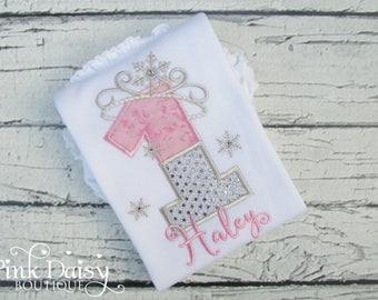 Girls Snowflake Birthday Shirt - Pink and Sparkly Silver Snowflake - Frozen Birthday - Ice Princess - Snow Queen - Winter ONEderland Shirt