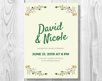 Yellow and Green Botanical Wedding Invitation - Printable