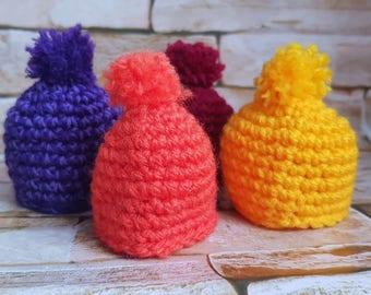 Eggs Warmers, Egg Cozy for Easter, Set 4 Caps for Eggs, Rainbow Caps, Easter Table Decor, Crochet Cozies, Egg Beanie, Easter Gift, Kitchen