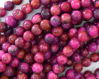 "6mm purple pink crazy lace agate round beads 15.5"" strand 40076"