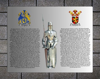Coats of arms, Dual coats of arms, Surnames, Metal print, Heradry, Family crest