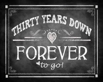 "Printable 30th Anniversary ""THIRTY years down FOREVER to go"" - instant download digital file - DIY - Rustic Chalkboard Collection"