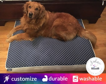 Navy Blue & White Dog Bed with Insert | Polka Dot, Ticking | Fiberfill or Foam Insert Included