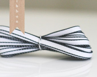 "White with Black edge ribbon 1/8"""