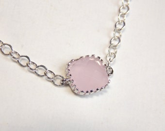 Pink Necklace, Glass Necklace, Silver Necklace, Ice Pink, Light Pink, Bridesmaid Necklace, Bridal Jewelry, Bridesmaid Gift