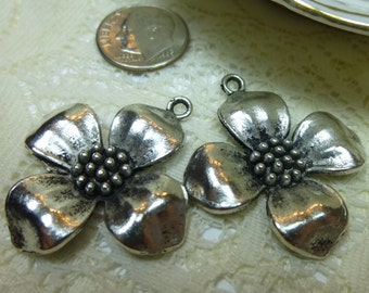 Dogwood Pendants Dogwood Charms Drops Embellishments Tibetan Silver 33 x 35mm/QTY 2