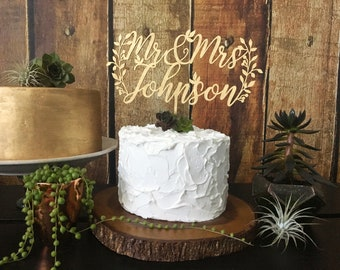 Custom Mr and Mrs Cake Topper, Wedding Cake Toppers, Cake Topper Wedding, Rustic Cake Topper, Wedding Decor, Mr and Mrs Sign, Last Name Sign