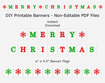 Merry Christmas Banner with Snowflakes - Silver Sparkle, Red & Green - PRINTABLE - INSTANT DOWNLOAD
