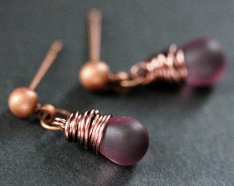 COPPER Earrings - Clouded Purple Teardrop Earrings. Dangle Earrings. Stud Post Earrings. Handmade Jewelry.