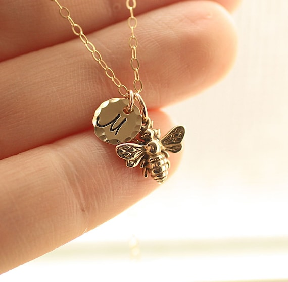 personalised necklace bee hummingbird lily plated gold jewellery charmed bumblebee rose and