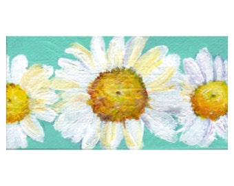 Shasta Daisy Mini Painting close up on Aqua Original on canvas, mini easel, daisies painting on turquoise blue, acrylic painting