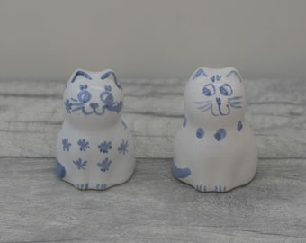 Cat Figurine, Blue and White Cat Ornament, Set of 2