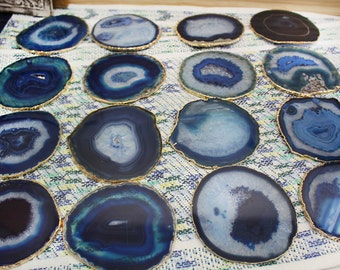 6 pcs Blue Gold Plated Agate Coaster - Set of 6 - Agate Slice with 24k Gold Electroplated Edges - Home Decor