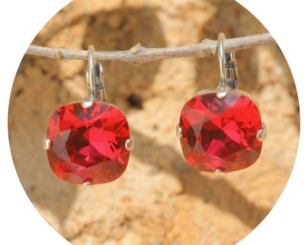 Artjany Earring Scarlet Red Silver