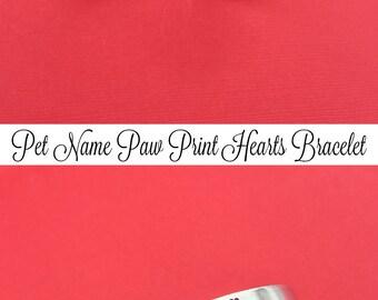 Custom Pet Name, Hand Stamped Bracelet, Aluminum Cuff Bangle, Gift For Her, Pet Memorial Gift, Pet Remembrance, Fur Mom, Pet Sympathy Gift