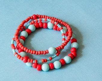 Trio de bracelets boho chic bleu/corail,  perles en verr Création Akseluna