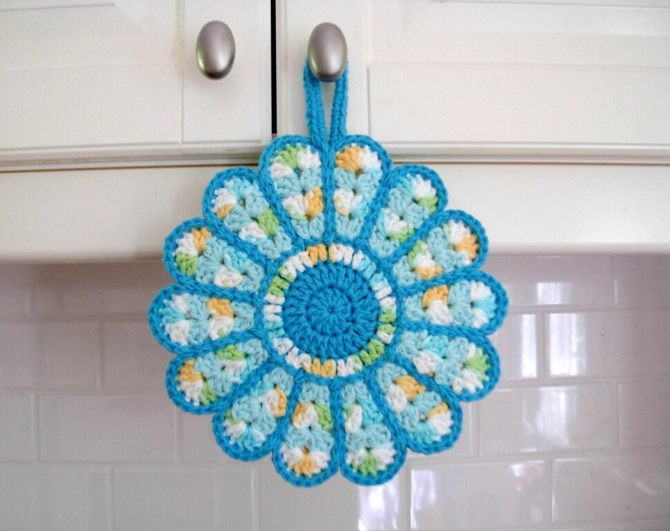 Crochet Potholder Hot Pad flower pot holder kitchen