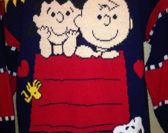 Vintage Peanuts 70's Ugly Christmas Sweater Charlie Brown Lucy Snoopy & Friends