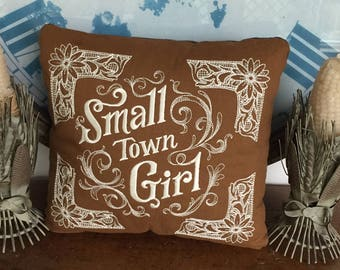 Small Town Girl Western Chic Trapunto Style Corners Embroidered Pillow Approx. 10 x 8 3/4 Inch  Choose Text and Linen Colors