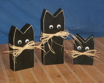 black cat-rustic black cat-wooden cat-rustic black cat-handpainted black cat-halloween decor-Halloween decoration