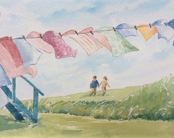 """Original watercolor, laundry, laundry drying in the wind """"Windy day"""""""