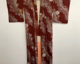 Vintage Silk Kimono - Rust with Gold and White Embroidery