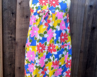 Vintage Housecoat, Katz Shift, Zip Up Front, Bright Flower Power Print, Blue, Pink and Yellow, Sz Small, 1960s