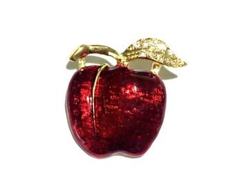 "Enamel Apple Brooch, Apple, Rhinestone Brooch, 1"""