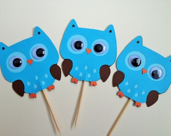 Owls - Quirky Owl Cupcake Toppers - Set of 12
