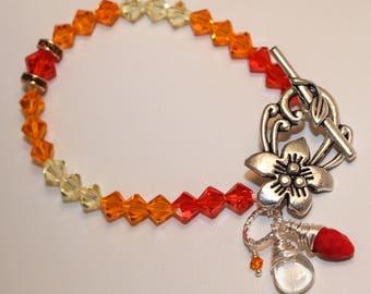Orange Crystal Bracelet Flower Sunshine Beauty Gift Swarovski Yellow, Golden, Shimmer Shimmer