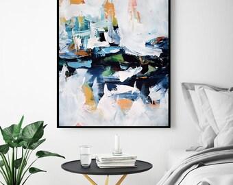 BLUE Abstract Art, Large Wall Art, Modern Art Print, Pastel Colours ABSTRACT Art Print - Large Giclee Art Print Wall Art Prints, Wall Decor