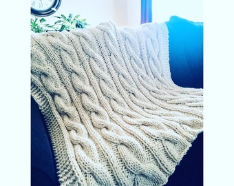 MADE to ORDER! - Chunky Cable Afghan - Handknit Blanket