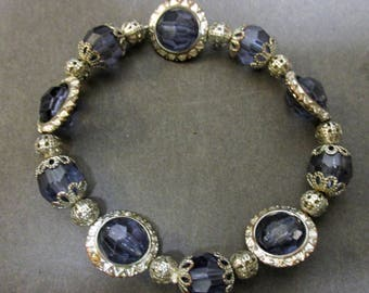 Blue Bracelet with Silvertone Embellishments